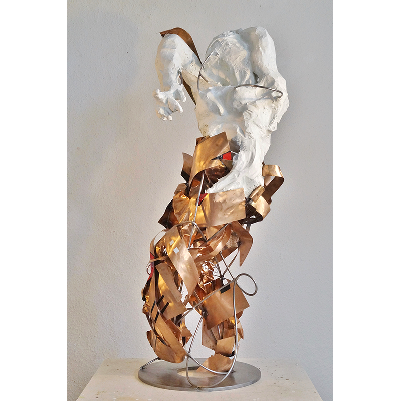Fré Ilgen - High Prized Woman, 2017, stainless steel, bronze, paper clay, paint - H119 x 52 x 50 cm, Collection Ulla and Heiner Pietzsch, Berlin